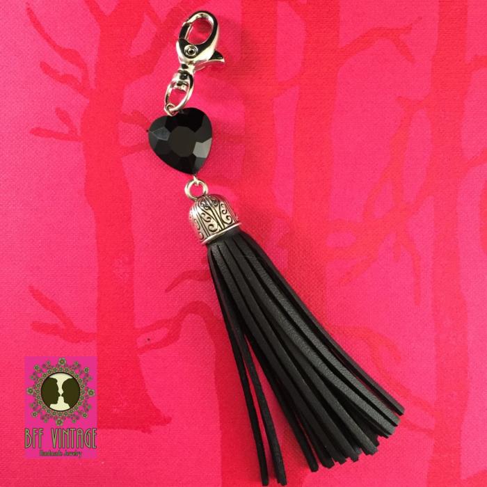 BFF vintage - sleutelhanger met zwart kwastje en hart