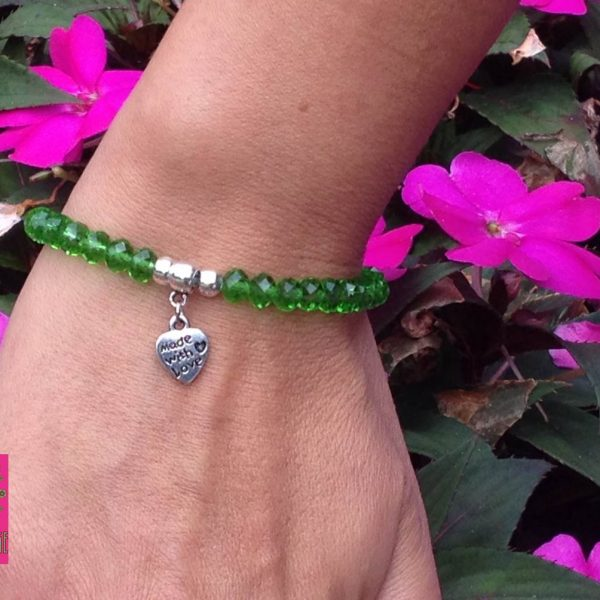 BFF groene facetkralenarmband met made with love bedeltje