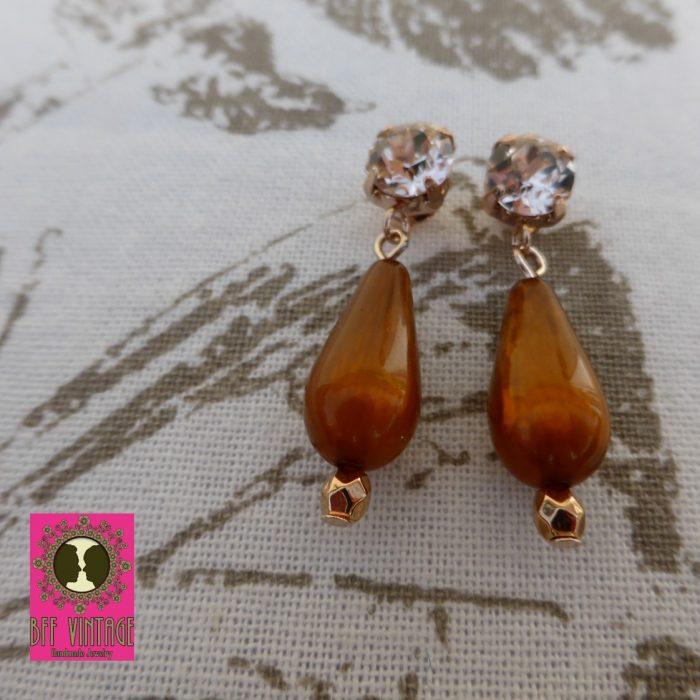 Silk Swarovski crystal oorstekertjes met amber druppelkralen