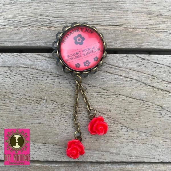 BFF Vintage - Broche bedankt juf - rode roosjes - rood
