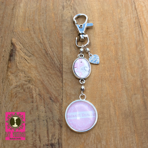 Bff vintage sleutelhanger zilver - bedankt lieve juf roze flamingo