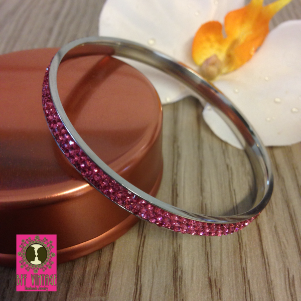 Roze stainless steel armband