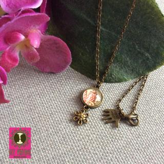 BFF Vintage ketting brons kleine ronde hanger met koffiepot en metalen bloempje