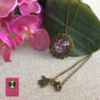 BFF Vintage ketting brons ronde hanger met paarse bloempjes