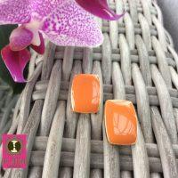 Rechthoekige oorstekertjes in vintage oranje