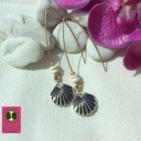 Trendy oorbellen met schelpjes en natuurlijke kokoskralen
